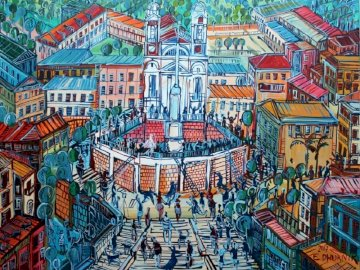 Polish contemporary art - Picture of Edward Dwurnik, Spanish Steps. Oil on canvas method. Exhibited at the Katarzyna Napiórko