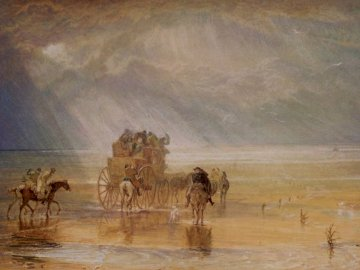 Lancaster Sands, 1816-1825, J. - Painting of brown carriage. Birmingham, UK. A herd of cattle walking across a body of water.