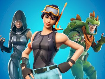Fotnite Epic composition - here are 3 skins from Fortnite. A woman swimming in the water.