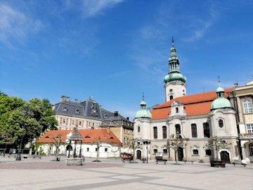 Pszczyna market - Pszczyna, market square, architecture. A castle on top of a building.