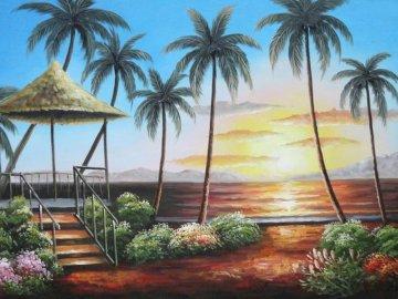 paisajes-playeros - paisajes-playeros-cuadros-decorativos_01. Plaża z palmą.