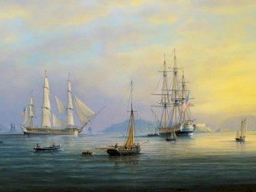 Cuadros-de-paisajes-del-mar-con-barcos - Cuadros-de-paisajes-del-mar-con-barcos-pintados. Mała łódka w dużym akwenie.