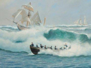 paisajes-realistas-del-mar - Cuadros-de-paisajes-realistas-del-mar. Grupa ludzi jeżdżących na nartach na zbiorniku wodnym.