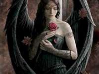 Anjo com rosa