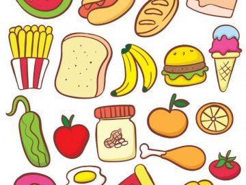Food Puzzle - The jigsaw with different types of food. A close up of a logo.