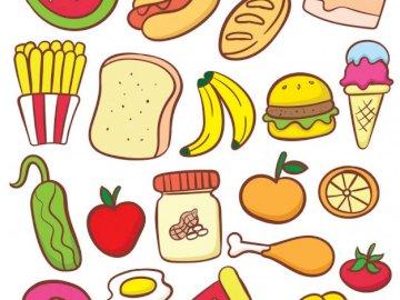 Puzzle żywności - Układanka z różnymi rodzajami żywności. Zbliżenie logo.