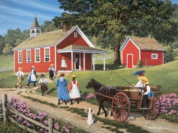 Back to school. - Puzzle: return of children to school. A person riding a horse drawn carriage in front of a house.
