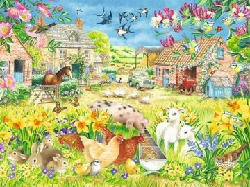 Country Animals. - Puzzle for children: village animals. A couple of animals that are in the grass.