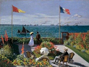 Cloude Monet. - Malarstwo Cloude Monet. Nad morzem. Grupa ludzi w zbiorniku wodnym z kolorowym parasolem.