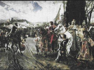 La rendición de Granada - el rey boabdil tuvo que dar las llaves de la ciudad de Granada a los Reyes Católicos. Un groupe de