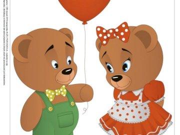 bunte Teddybären - bunte Teddybären aus der Nähe des Kindergartens.