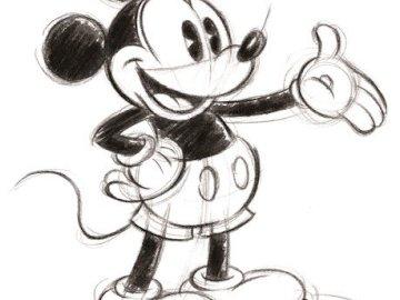 Mickey Maus - Schwanzohren ganze schwarze Skizze. Eine Nahaufnahme eines Geräts.
