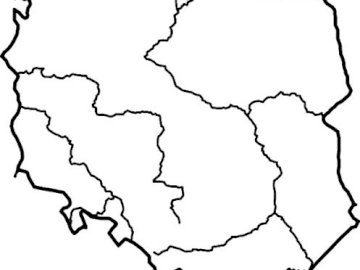 Polish rivers - Contours of Poland with rivers. A close up of a map.