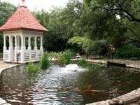 pond_arbor_fountain_fish_person