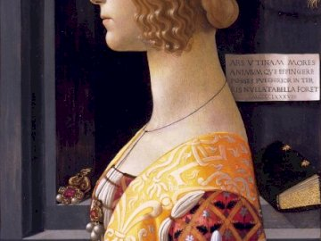 Portrait of Giovanna Tornabuoni (1488) - Portrait of Giovanna Tornabuoni by Domenico Ghirlandaio. A person wearing a dress.