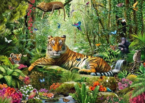 King of the Jungle - One of the representatives of the inhabitants of the jungle are big cats. They reign in this green k