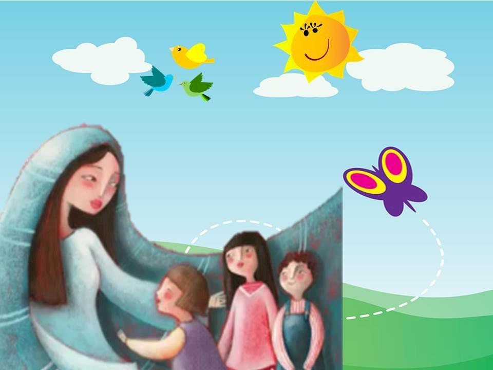 Maria Maica tuturor - Maria este mama tuturor. Copiii învață că Maria este mama tuturor. Un grup de oameni care pozează pentru aparatul foto. Maria este mama tuturor creștinilor. Un grup de oameni care pozează pentr (4×4)