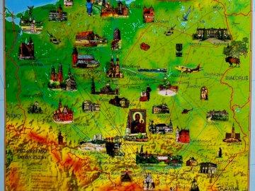 """Pielgrzymkowa Mapa Polski - Pielgrzymkowa Mapa Polski """"Sercem zawsze z Polską"""". Zbliżenie mapy."""