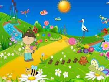 Puzzle Piękna Łąka - Piękna łąka. Warto spróbować ułożyć puzzle. Zakończenie up kolorowy tło.