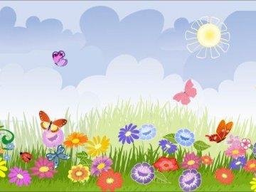 Motyle na łące - Motyle na łące. Spróbuj ułożyć puzzle. Powodzenia!.