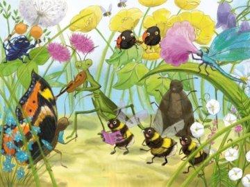 Życie zwierząt na łące - Życie zwierząt na łące. Zapraszam do ułożenia. Grupa kolorowych kwiatów.