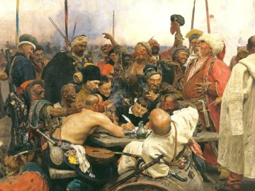 Answer of the Dnieper Cossacks to the Sultan - The Zaporozhian Cossacks write a letter to the Sultan of Turkey by Iliya Repin (1880-1891). A group