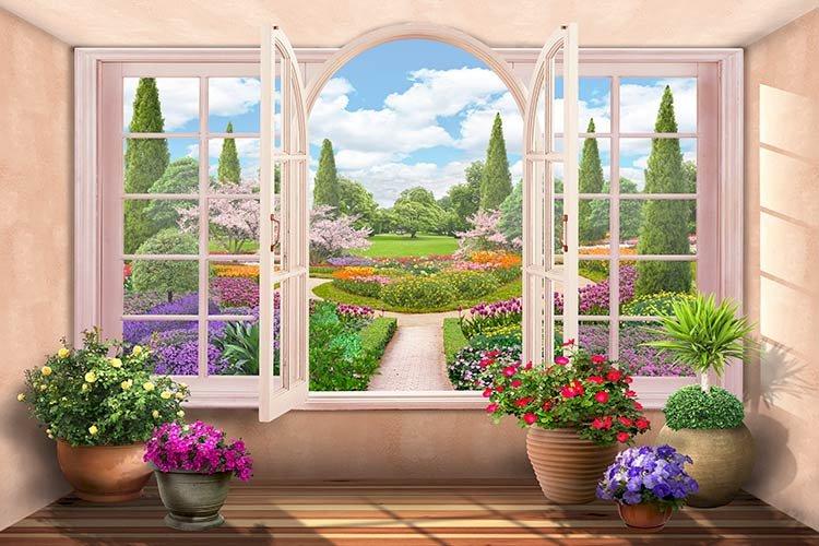 Вътрешните работи - Пъзел. Сграда. Изглед отвътре в стаята на градината. Затваряне на цветна градина пред прозорец (10×10)