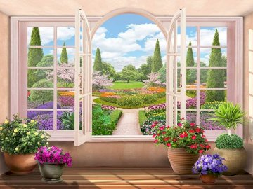 Interior. - Jigsaw puzzle. Building. View from inside the room of the garden. A close up of a flower garden in f