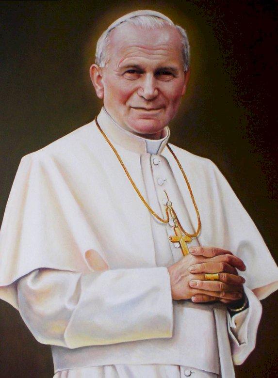 Jan Paweł II - Jan Paweł II. Setna rocznica urodzin papieża Jana Pawła II. Papież Jan Paweł II pozuje do kamery. Setna rocznica urodzin Jana Pawła II. Papież Jan Paweł II pozuje do kamery.  Autor portretu: Z (6×6)