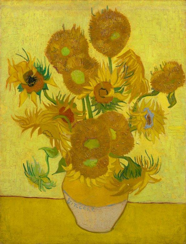 Napraforgók - A napraforgók, amelyek a festő kedvenc témái közé tartoznak, manapság a legismertebb és legismertebb művei közé tartoznak (3×4)