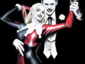 Joker y Harley Quinn - La imagen muestra al Joker y Harley Quinn de la película Suicide Squad. Una mujer vestida con un di
