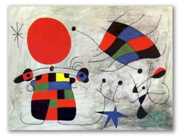 The smile of burning wings looked. - Painting by the artist Joan Miro.