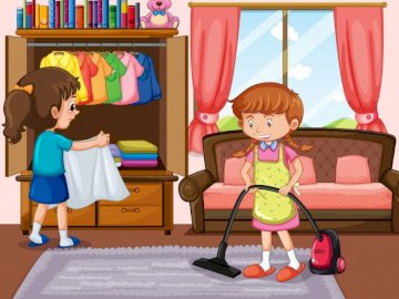 cleaning - Cleaning children.