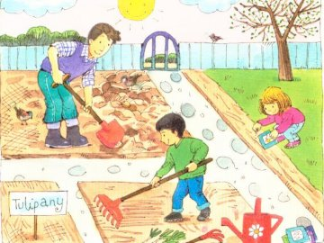 Garden work - Spring gardening. A group of kids in a grassy area.