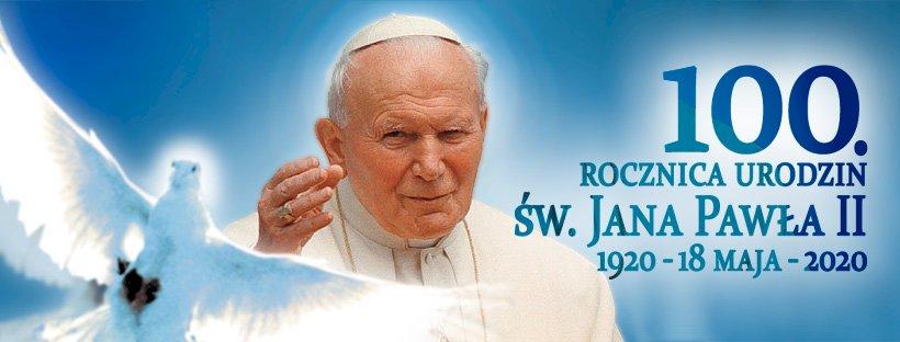 Papa Ioan Paul al II-lea - Papa polonez, aniversarea a 100 de ani. Papa Ioan Paul al II-lea care ține un semn (6×6)