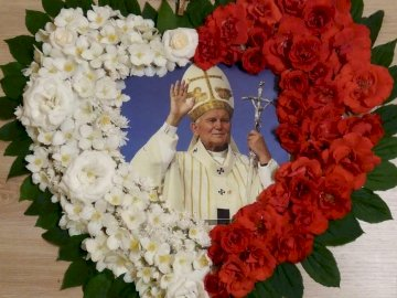 Pope John Paul II - John Paul II heart of flowers. A close up of a flower.