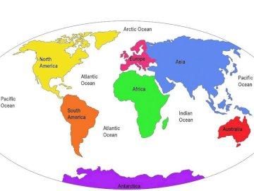 continents - Continents of the world. A close up of a map.