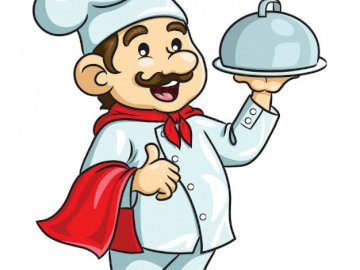 KITCHEN VALVE - Puzzle for kids, profession chef. A close up of a logo.