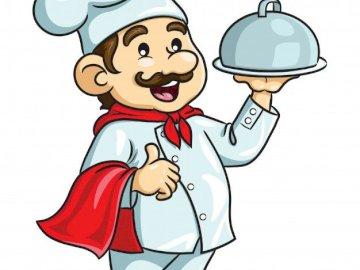 ZAWÓR KUCHNI - Puzzle dla dzieci, zawód szefa kuchni. Zbliżenie logo.