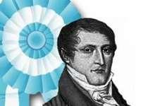 Belgrano - Manuel Belgrano, maker van de kokarde, Argentijns nationaal symbool. Een persoon die poseert voor de