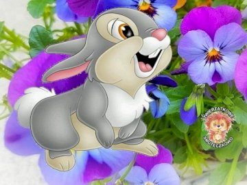 Conejito. - Rompecabezas para niños: conejito de pascua. Un grupo de flores de colores.