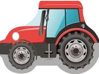 tahač - barevný traktor, pro děti. Traktor v pozadí.