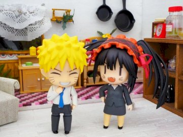 Naruto and friend - Naruto and a friend in his kitchen.