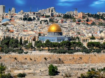 Jerusalem Israel - panorama of the city --------. A large body of water with a city in the background.