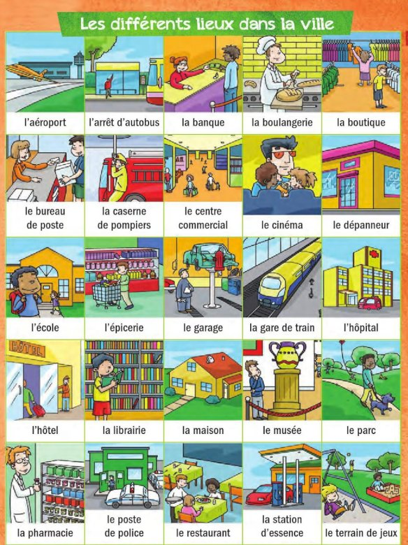 LES LIEUX DE LA VILLE - PUZZLE FOR CHILDREN FROM THE CITY SITES IN FRENCH. A close up of text on a white background (4×5)