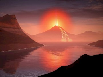 A beautiful landscape - Beautiful volcano view. A sunset over a body of water with a mountain in the background.