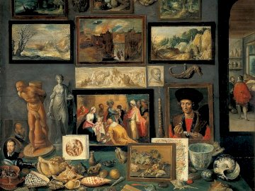 Kunstkamer - Frans Francken el Joven, Kunstkamer, 1636. Una pintura en la pared.