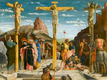 Crucifixion - Andrea Mantegna Crucifixion. A group of people in costumes.