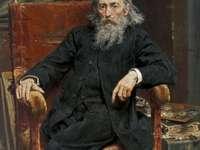 Chroniqueur - Autoportrait de Jan Matejko. Jan Matejko assis sur un banc.
