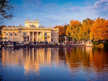 Royal bathroom - The Royal Łazienki will come in golden autumn. A river with a city in the background.